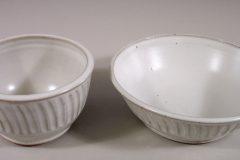 Cereal Bowl or Serving Bowl in Fluted Design White Glaze