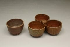 Individual Condiment Bowl or 3-pc Tray Condiment Bowls Fluted Design in Spodumene Glaze