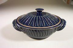 Casserole with Lid, Medium, Fluted Design in Dark Blue Glaze
