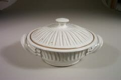 Medium Casserole with Lid, Fluted Design in White Glaze