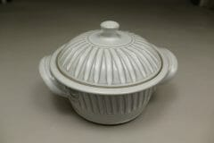 Small Casserole 3 Fluted Design in White Glaze
