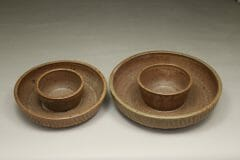 Chip and Dip Small and Large Fluted Design in Spodumene Glaze