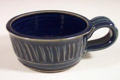 Soup Mug, Fluted Design in Dark Blue Glaze