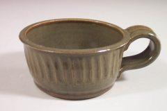 Soup Mug, Fluted Design in Green Glaze