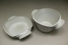 Small Open Casserole or Small Deep Open Casserole Fluted Design in White Glaze