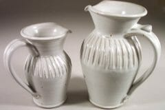 Pitcher, Small and Large, Fluted Design in White Glaze