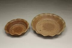 Pie Plates Small and Large Sizes in Spodumene Glaze with Rippled Rim