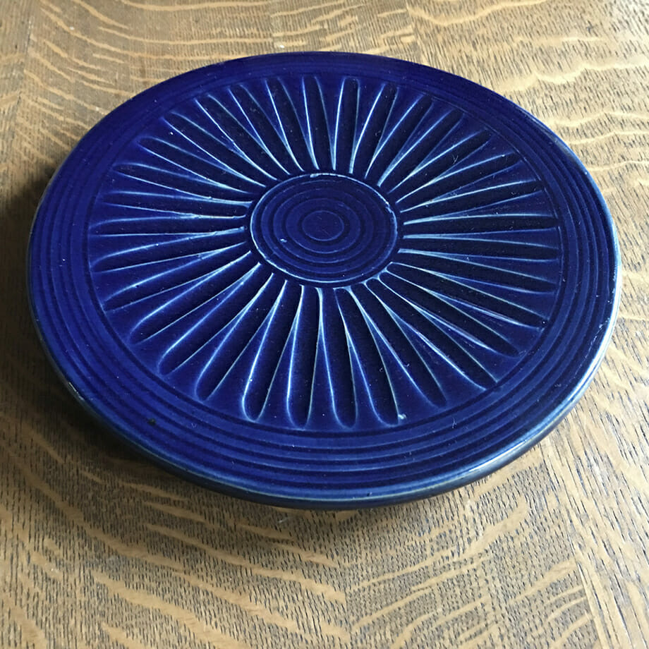 Trivet, Fluted Design in Dark Blue Glaze