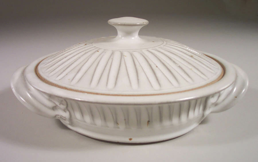 Tortilla Warmer, Fluted Design in White Glaze