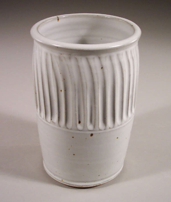 Utensil Holder Fluted Design in White Glaze