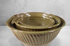 Spouted Mixing Bowl 3-pc. set Fluted Design in Green Glaze
