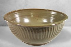 Large Bowl Fluted Design in Green Glaze