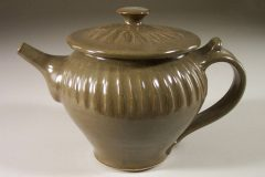 Teapot with Lid Fluted Design in Green Glaze