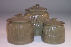 Canister 3-pc Set with Lids Fluted Design in Green Glaze