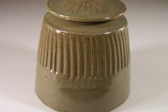 Cookie Jar Fluted Design in Green Glaze