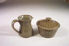 Creamer or Sugar Bowl with Lid Fluted Design in Green Glaze