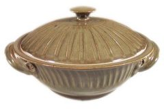 Large Casserole with Lid Fluted Design in Green Glaze