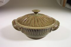Medium Casserole with Lid Fluted Design in Green  Glaze