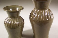 Vases, Small or Medium Fluted Design in Green Glaze