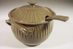Soup Tureen with Lid and Ladle, Fluted Design in Green Glaze