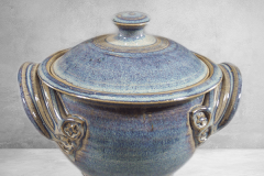 Small Casserole 1 with Lid,  Smooth Design in Rutile Blue Glaze