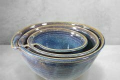 Bowls, Spouted Mixing 3-pc Set, Smooth Design in  Rutile Blue Glaze
