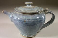 Teapot with Lid Smooth Design in Rutile Blue Glaze