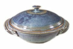 Large, Casserole with Lid  Smooth Design in Rutile Blue Glaze