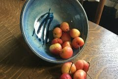 Bowl, low small, in Rutile Blue Glaze, Smooth Design-cherries