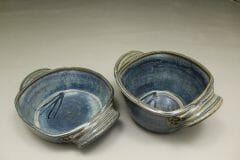 Small Open Casserole or Small Deep Open Casserole in Rutile Blue Glaze with Dark Blue Stripes