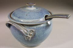 Soup Tureen with Lid and Ladle, Smooth Design in Rutile Blue Glaze