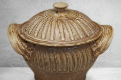 Small Casserole with Lid Fluted Design in Spodumene Glaze