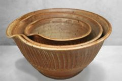 Spouted Mixing Bowl 3-pc Set Fluted Design in Spodumene Glaze