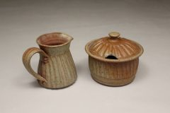 Creamer and Sugar Bowl  with Lid Fluted Design Glazed in Spodumene