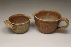 Spouted Bowl with Handle, Small or Large Sizes, Fluted Design in Spodumene Glaze