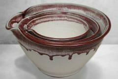 Spouted Mixing Bowl 3-pc Set Smooth Design in White and Red Glaze