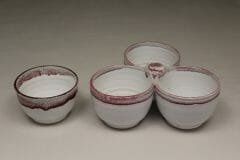 Individual Condiment Bowl or 3-pc Condiment Tray Smooth Design in White and Red Glaze