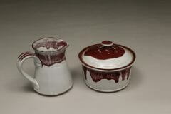 Creamer or Sugar Bowl with Lid Smooth Design in White and Red Glaze