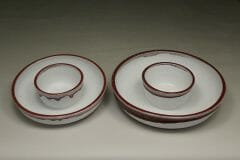 Chip and Dip, Small ot Large Sizes,  Smooth Design in White with Red Glaze