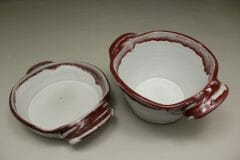Small Open Casserole or Small Deep Open Casserole Smooth Design in White and Red Glaze