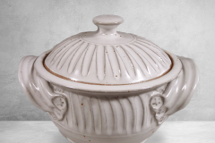 Small Casserole 1 with Lid,, Fluted  Design in White  Glaze