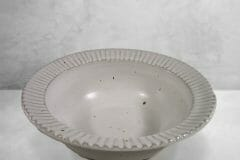 Large Pasta Bowl Fluted Design in White Glaze