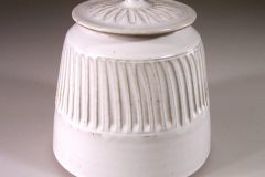 Cookie Jar Fluted Design in  White Glaze