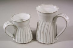 Mugs, Small and Large, Fluted Design in White Glaze