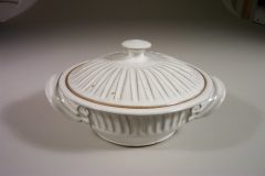 Medium Casserole with Lid, Fluted Design in White Glaze