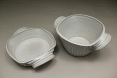 Small Open Low or Small Open Deep Casserole, Fluted Design in White Glaze