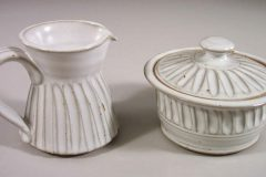 Creamer and Sugar Bowl with Lid Fluted Design in White Glaze