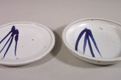 Dinner Plate, small, and Salad Plate Smooth Design in White Glaze with Dark Blue Stripes