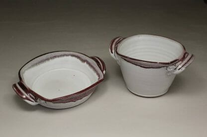 Open Low Casserole and Open Deep Casserole in White and Red Glaze