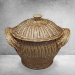 Small Casserole with Lid Fluted Design in Spodumene Glaze